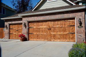 Custom home wooden garage door from Grad Timber Doors